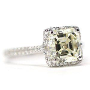 4.23 carat 18k Gold Asher Cut Diamond Halo Ring